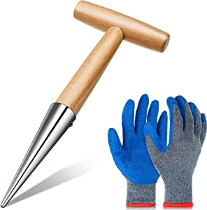 Wooden Dibber Garden Tool Stainless Steel Sow Dibbler Wood Handle and Gardening Gloves Rubber Coated Gloves for Digging Seeding Transplanting Loose Soil