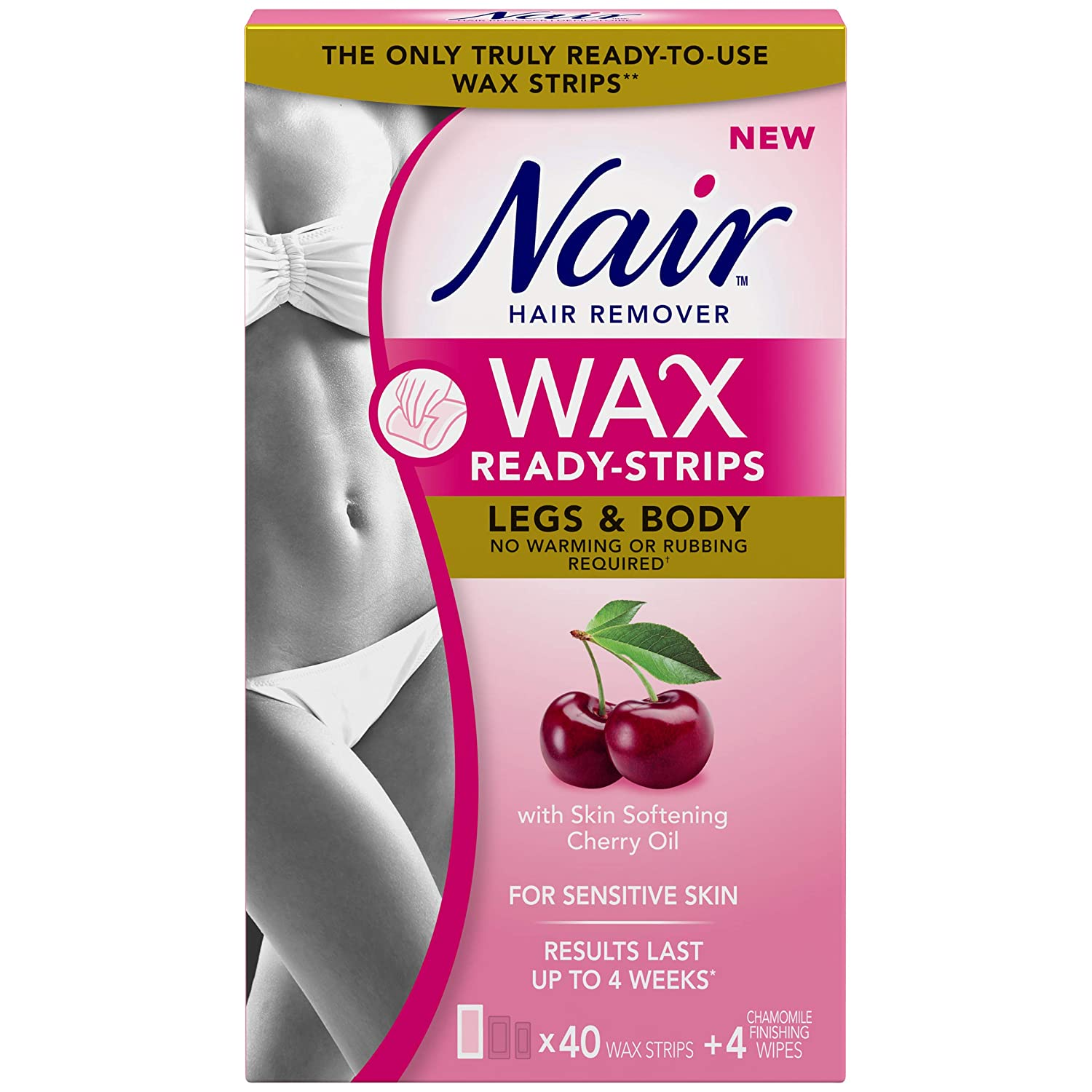 Nair Wax Ready Strips for Legs & Body with Skin Softening Cherry Oil, 40 Strips + 4 Finishing Wipes Church & Dwight
