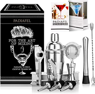 DHOUTDOORS Shaker Cocktail-Cocktail Shaker Kit en Acier Inoxydable-Idee Cadeau Noel Original Homme Femme Couple-Kit Cocktail 12 Pi/èces