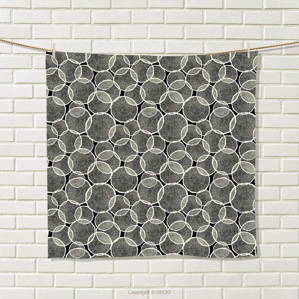 smallbeefly Tree Hand Towel Abstract Monochrome Trunk Pattern with Circular Arrangement Nature Inspirations Wood Quick-Dry Towels Black Beige Size: W 20'' x L 21''