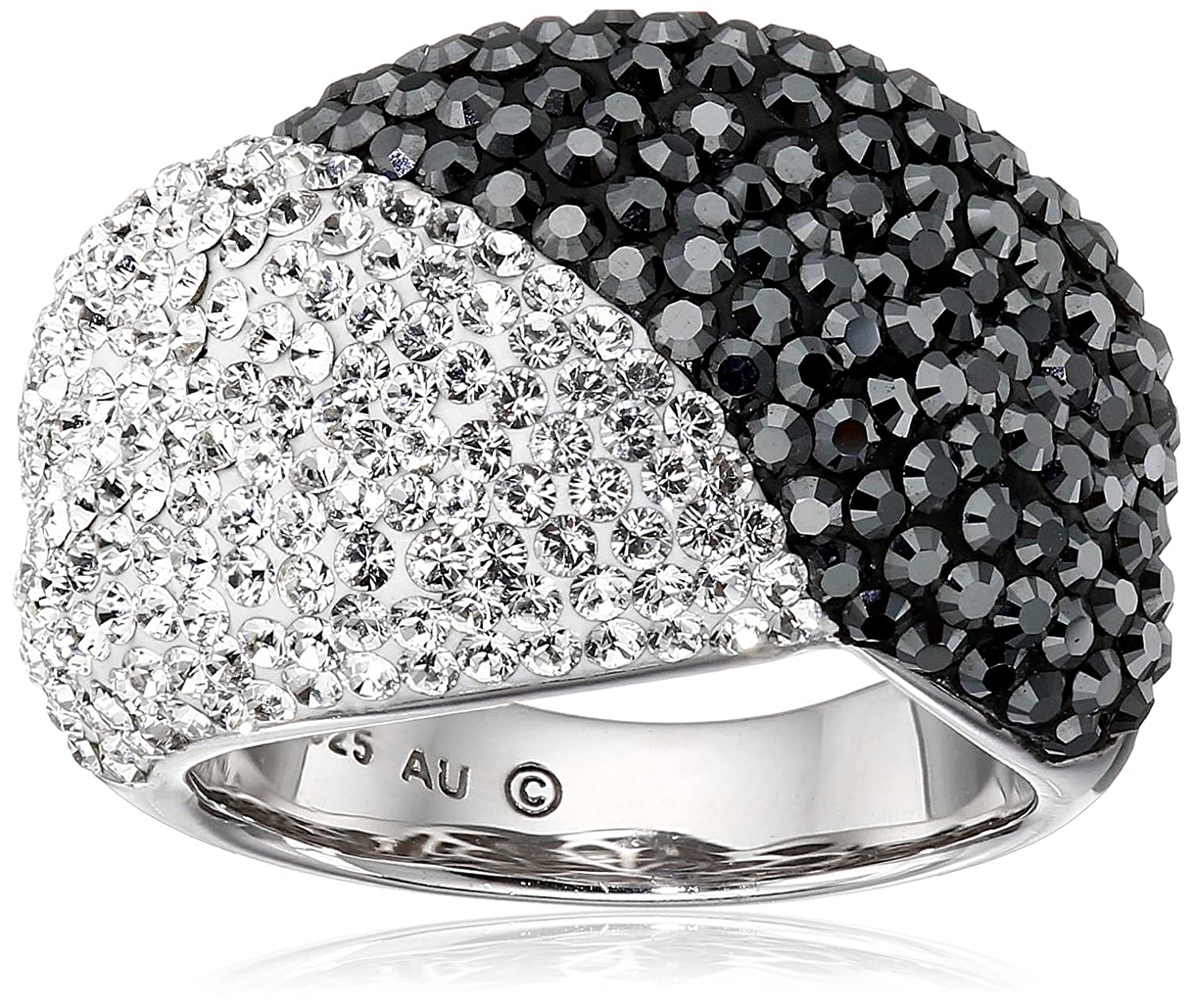 Sterling Silver White and Black with Swarovski Elements Ring, Size 7