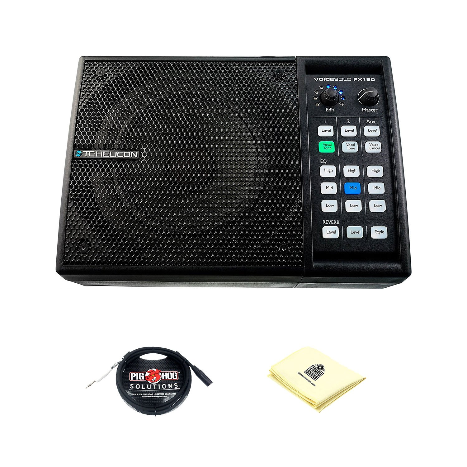 TC Helicon VoiceSolo FX150 150W Active Vocal Monitor PA Speaker with 6.5'' 2 way Tannoy Driver, 3 Channel Mixer, 3-band EQ with XLR Cable for PA Speakers and Zorro Sounds Speakers Polishing Cloth by TC-Helicon