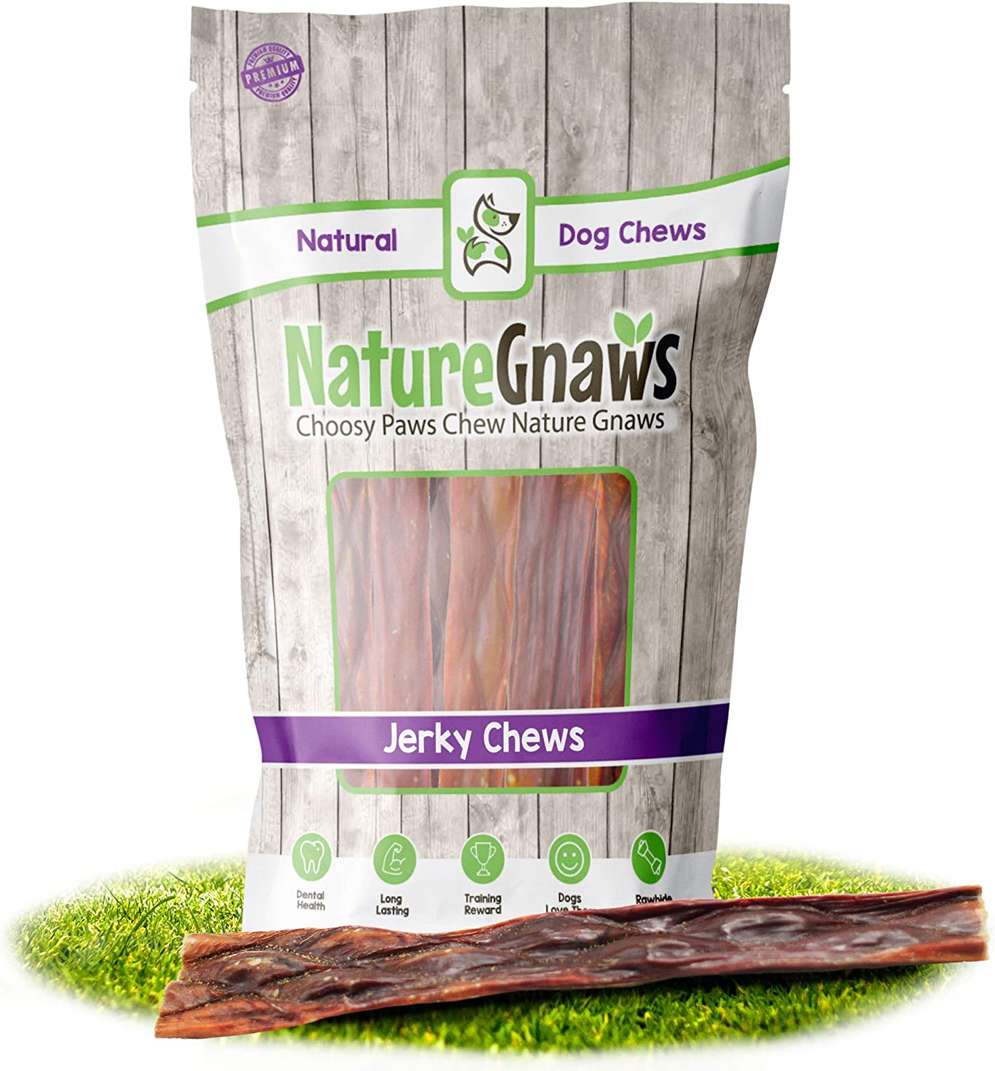 Nature Gnaws Beef Jerky Chews for Large Dogs - Premium Natural Beef Gullet Sticks - Simple Single Ingredient Tasty Dog Chew Treats - Rawhide Free - 9-10 Inch