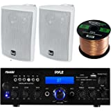Pyle PDA6BU Amplifier Receiver Stereo, Bluetooth, FM Radio, USB Flash Reader, Aux input LCD Display, 200 Watt With Dual LU43PW Indoor/Outdoor Speakers Bundle With Enrock 50feet 16gauge Speaker Wire