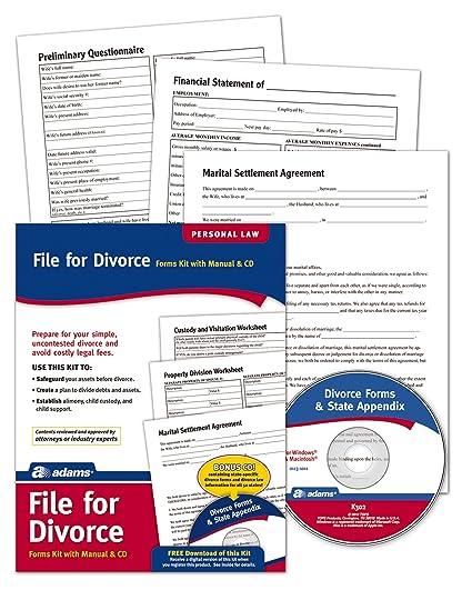 Amazon adams divorce kit forms and instructions includes cd amazon adams divorce kit forms and instructions includes cd k302 legal forms office products solutioingenieria Choice Image