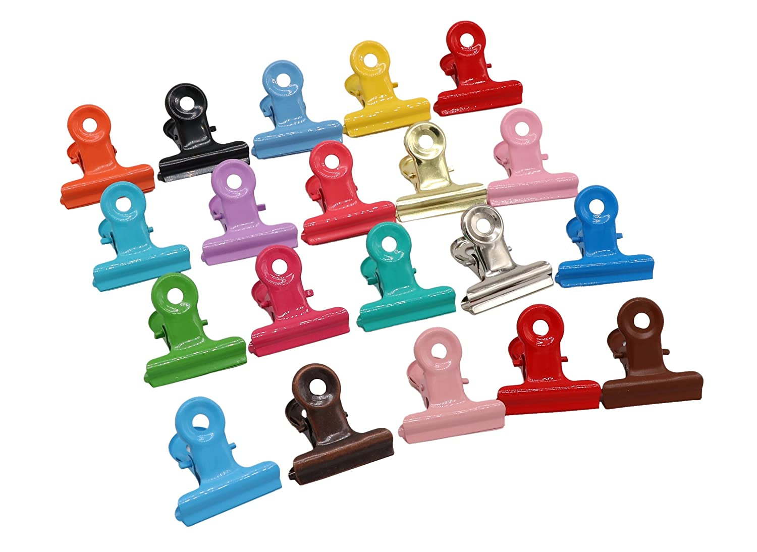 20pcs Mixed Color Metal Bulldog Clips,Utility Paper Clips,Hinge Clips for Home,Office Use,Stationery Clip AUTULET