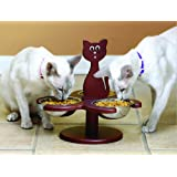 Pet Store Wood Multi-Cat Raised Feeder with 3 Metal Bowls