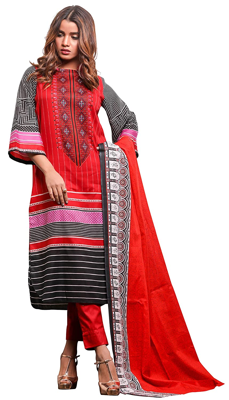 01b8816967 Surkhab Impressions Women's Original Pakistani Pure Lawn Cotton Printed Unstitched  Salwar Suit Salwar Suit Material: Amazon.in: Clothing & Accessories