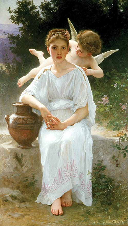 Young Girl /& Cupid by William Bouguereau Cotton Canvas or Fine Art Poster Print