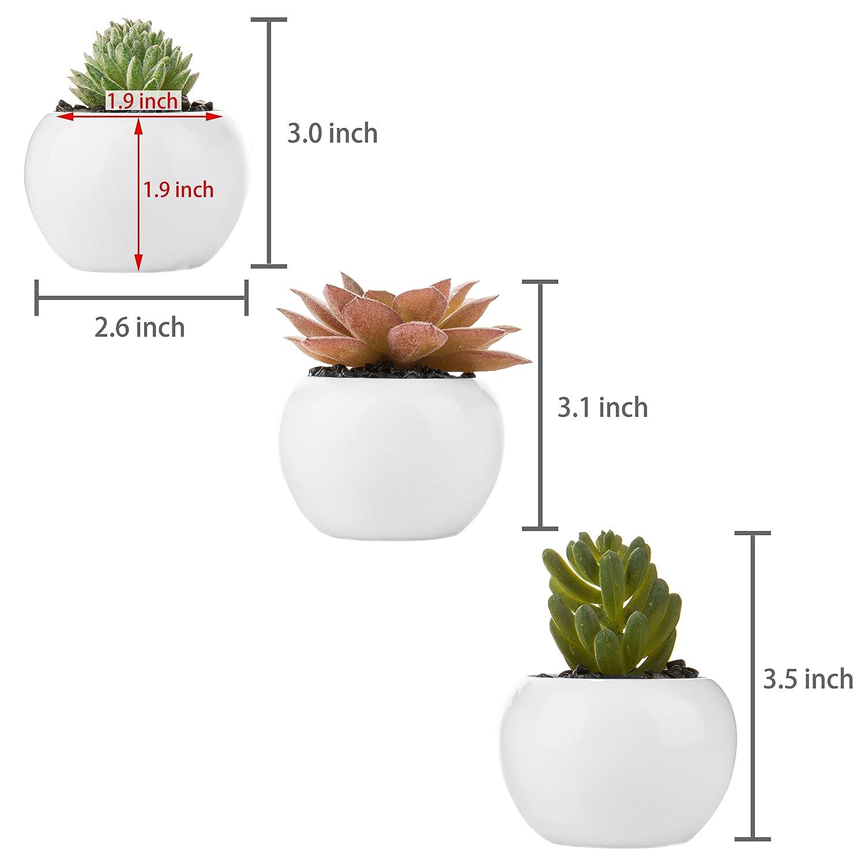 MyGift Set of 3 Mini Artificial Succulent Plants in White Ceramic Pots Assortment 1