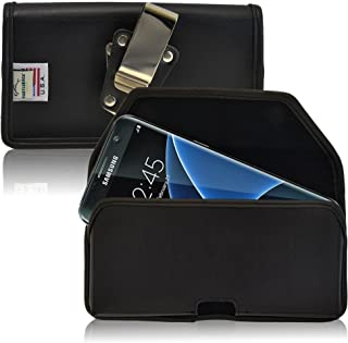 product image for Turtleback Belt Case Made for Samsung Galaxy S7 Edge Black Holster Leather Pouch with Heavy Duty Rotating Ratcheting Belt Clip Horizontal Made in USA