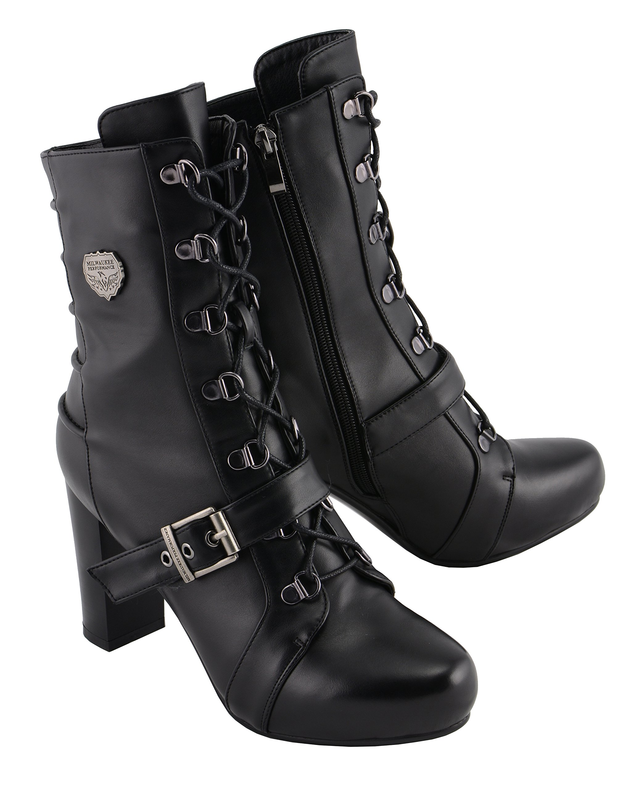 Milwaukee Leather Women's Lace Front Boot Black 8