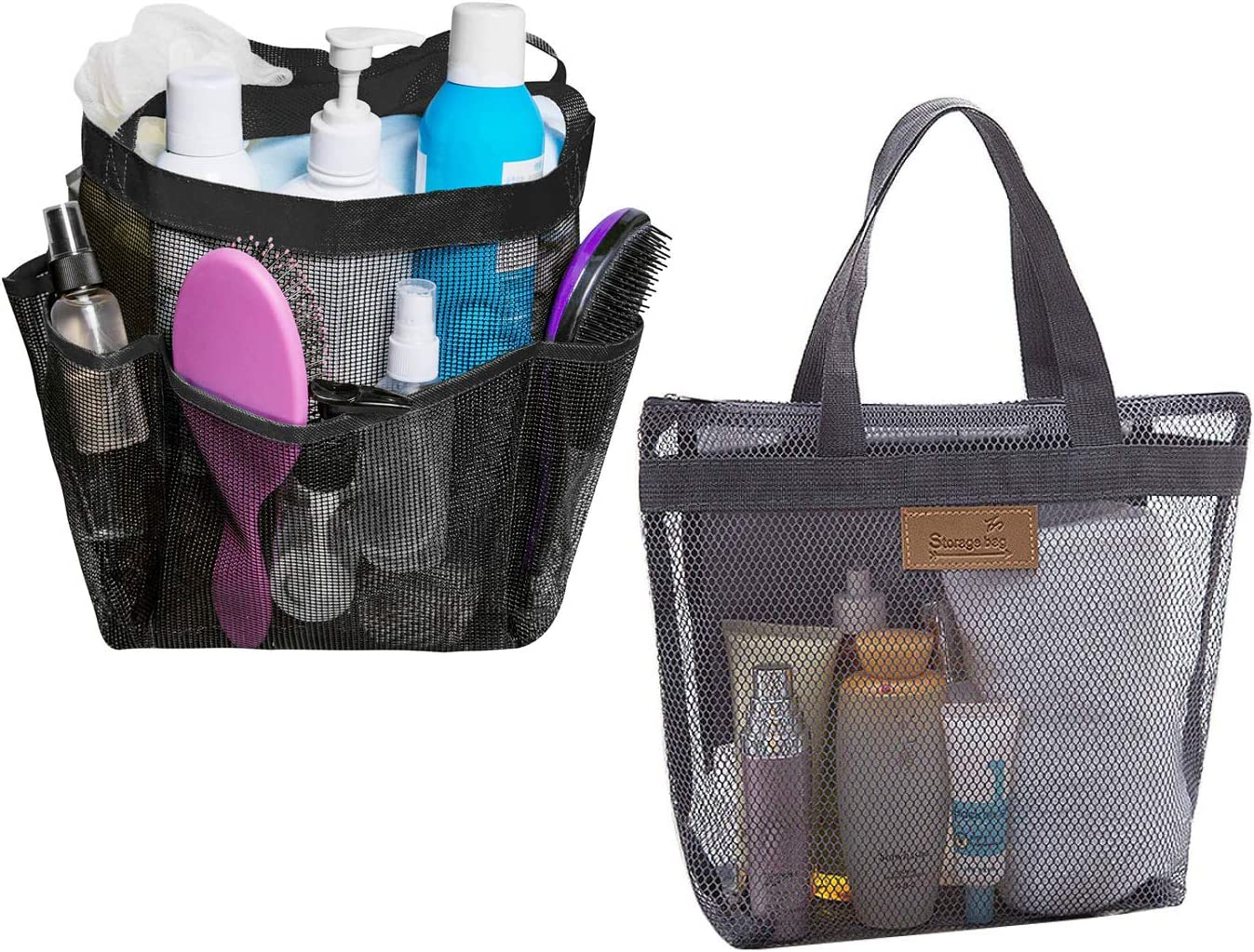 2 Pack Mesh Shower Caddy Shower Tote Bag with 8 Mesh Storage Pockets Shower Caddy Bag Bath Organizer for College dorms Gym Shower Swimming Travel and Daily (Black)
