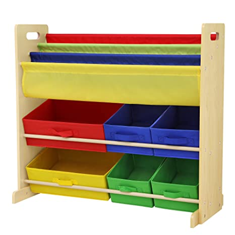 Charmant SONGMICS Kidsu0027 Toy Storage Unit Sling Bookcase Rack With 6 Fabric Bins And  3