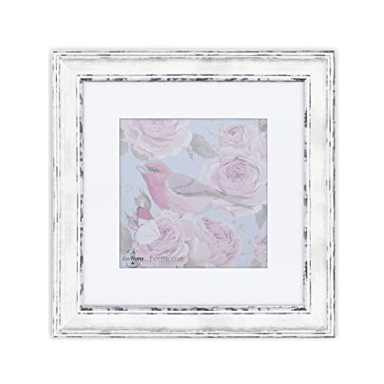 Amazon 11x11 Square White Picture Frame Distressed Matted To
