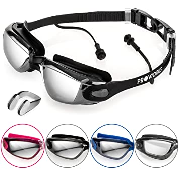 9880f7fdde2e Proworks Swimming Goggles with Mirrored Lenses