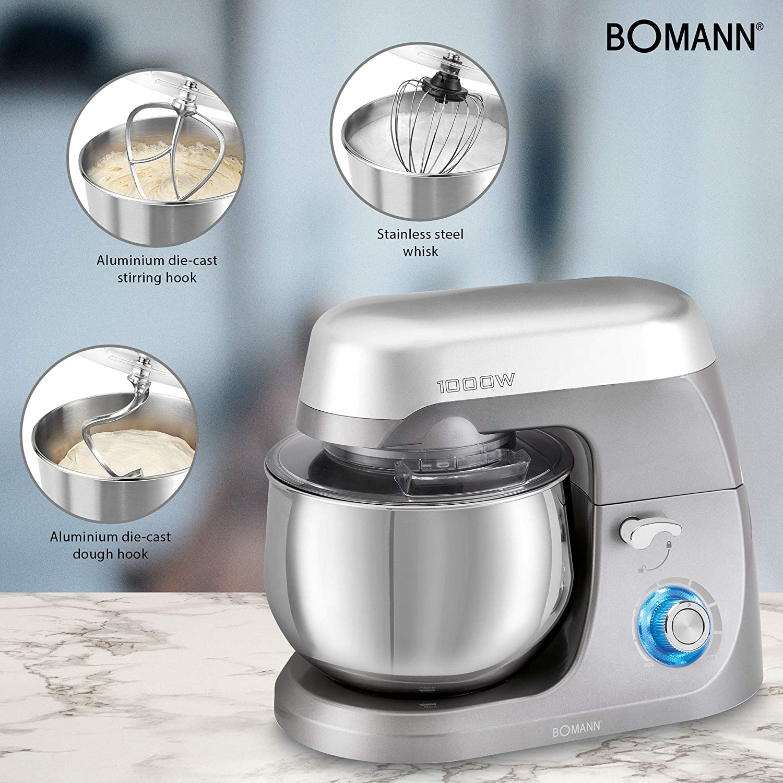 Bomann KM 6009 Batidora amasadora repostería Capacidad de 5 litros, Velocidad Regulable electrónica, 1000 W, Titanio: Amazon.es: Hogar