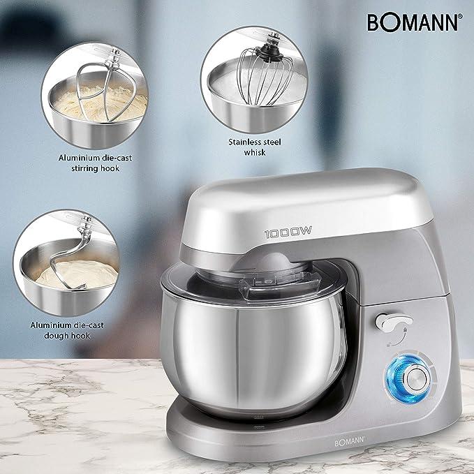 Bomann KM 6009 Batidora amasadora repostería capacidad de 5 litros, velocidad regulable electrónica 1000 W, Titanio: Amazon.es: Hogar