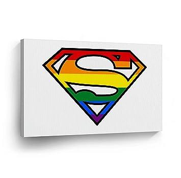 amazon com lgbt superman canvas print rainbow colors gay lesbian rh amazon com Super Hero Clip Art Wonder Woman Clip Art