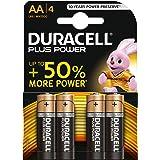 Duracell Plus Power Piles Alcalines type AA, Lot de 4