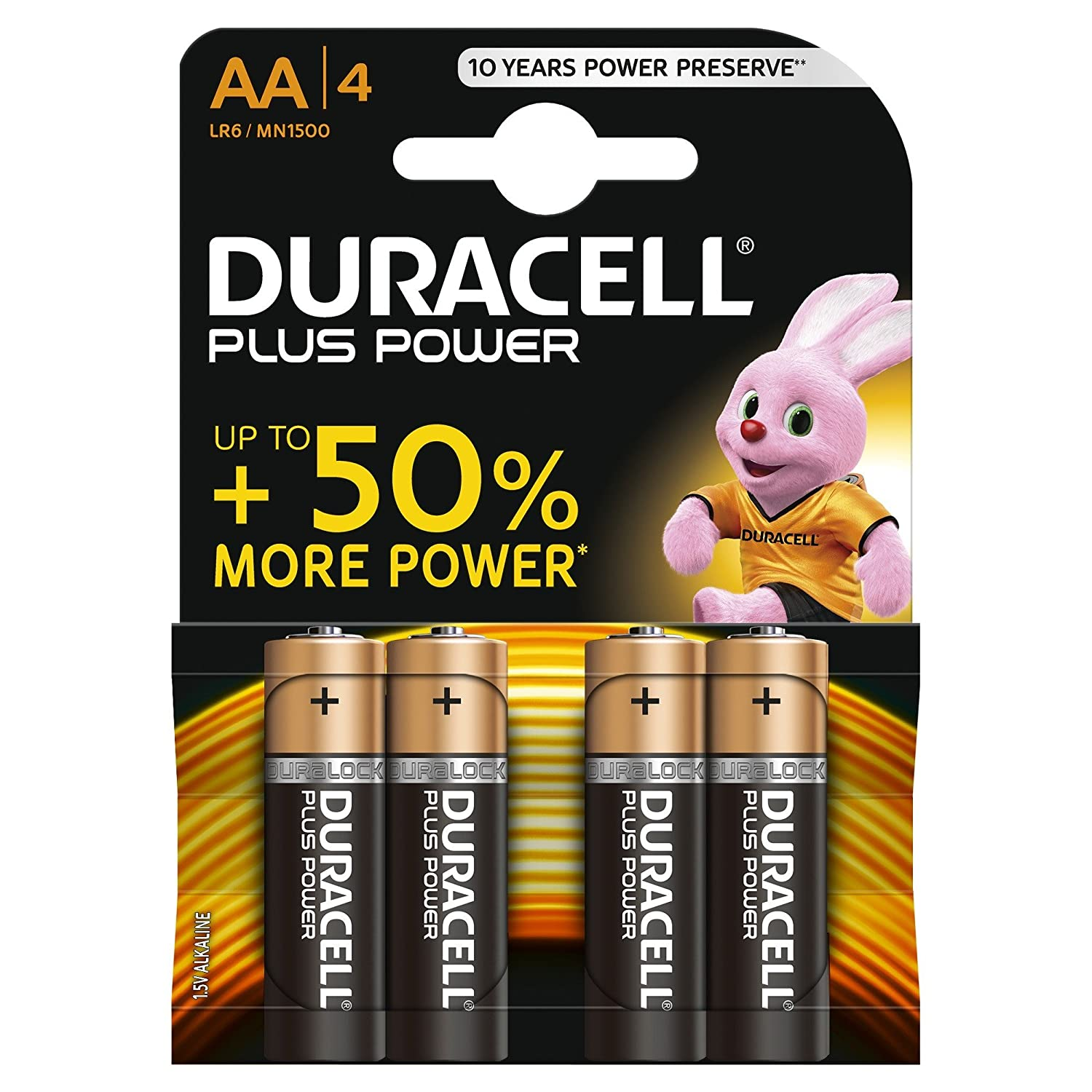 Pack of 4 Duracell Plus Power AA Alkaline Batteries 1.5v LR6 MN1500 STILO MIGNON