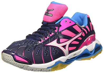 Mizuno Wave Lightning Z3 Mid W, Chaussures de Volleyball Femme, Multicolore (Peacoat/White/Pinkglo), 38.5 EU