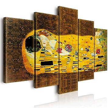 World Vogue Quadro Su Tela 5 pezzi Il Bacio di Klimt 100x150x3 cm ...