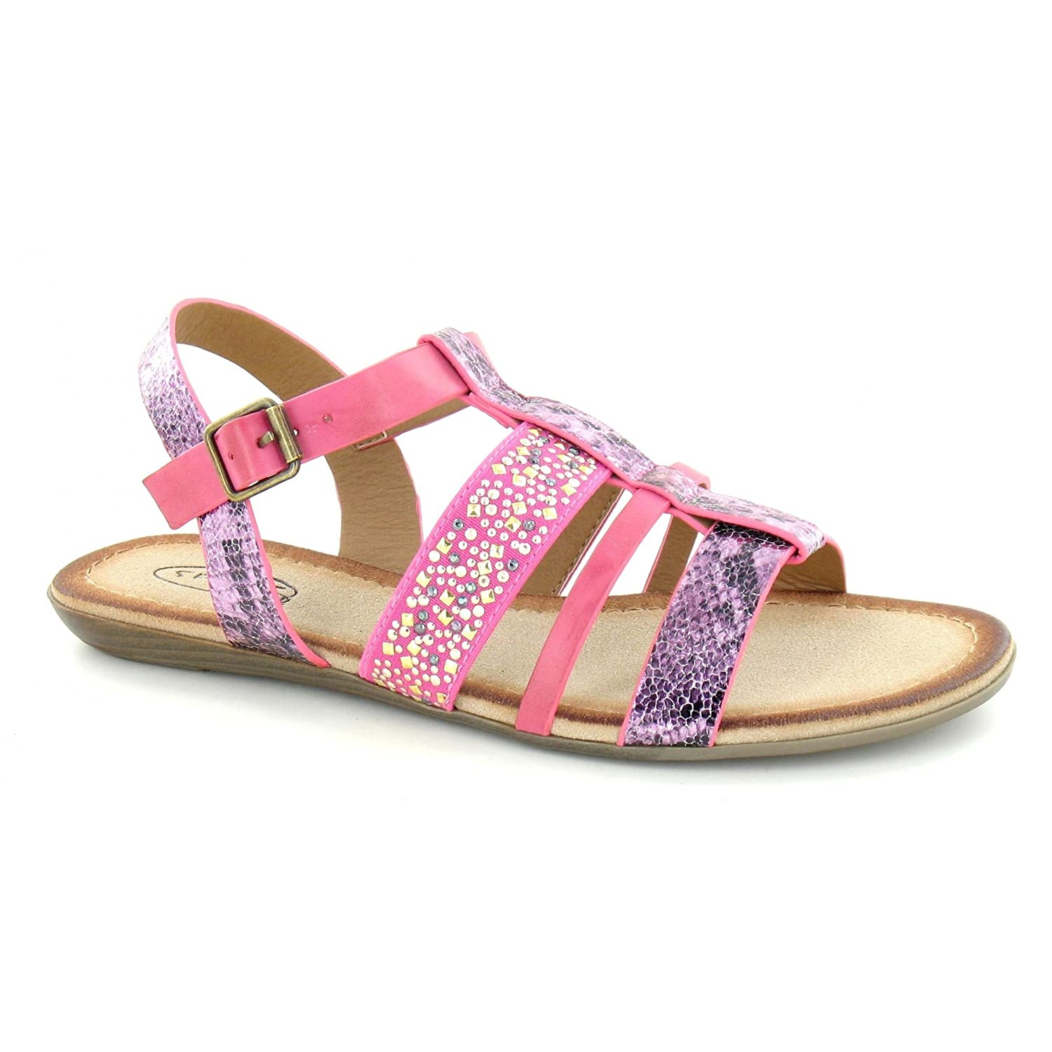 69a059046057f1 Savannah Womens Ladies Strappy Jewel Gladiator Sandals  Amazon.co.uk  Shoes    Bags