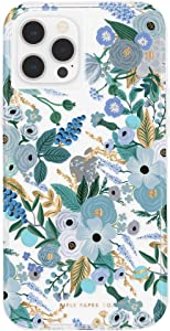 Rifle Paper Co - Case for iPhone 12 and iPhone 12 Pro (5G) - 10 ft Drop Protection - 6.1 Inch - Garden Party Blue