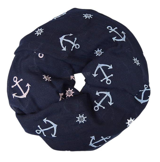 1 Loop Schal Tuch Halstuch blau weiß Anker Motiv maritim Damen seidig