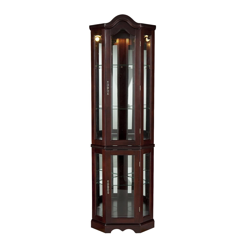 Southern Enterprises Lighted Corner Curio Cabinet, Mahogany Finish with  Antique Hardware - Display & Curio Cabinets Amazon.com