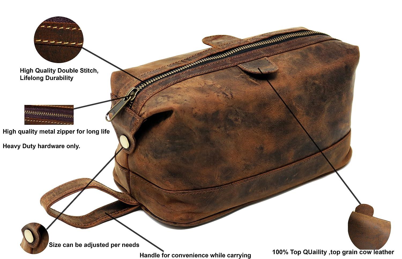 f950c1958a55 Men s Buffalo Genuine Leather Toiletry Bag waterproof Dopp Kit Shaving bags  and Grooming Kit for Travel ~ groomsmen Gift for Men Women ~ Hanging  Zippered ...