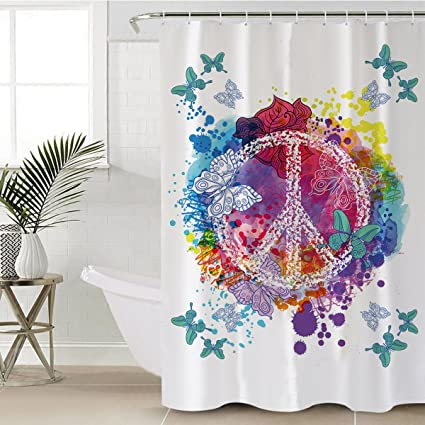 Sleepwish Butterfly Shower Curtain Fabric Hippie Turquoise Butterflies Peace Sign Water Proof Mold Resistant
