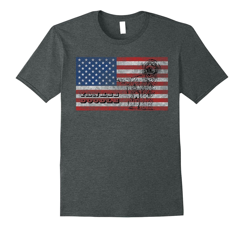 Yankee Doodle Goldendoodle 4th of July American Flag T-Shirt-PL