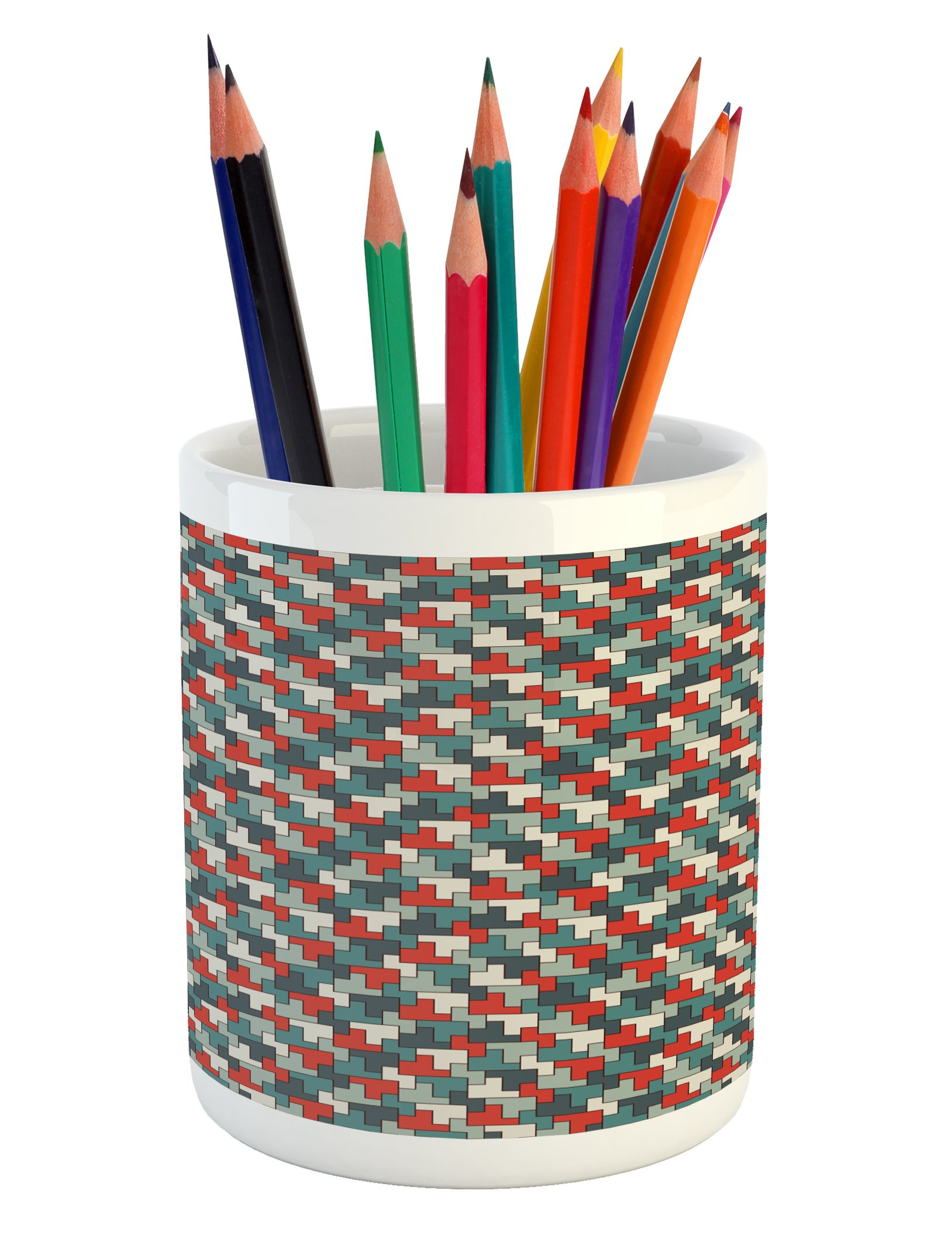 Ambesonne Abstract Pencil Pen Holder, Repeating Puzzle Mosaic Pattern with Simple Geometric Ornament Modern and Funky, Printed Ceramic Pencil Pen Holder for Desk Office Accessory, Multicolor