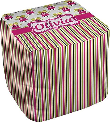 Amazon.com: Rosa monstruos y rayas puff cubeta otomana ...