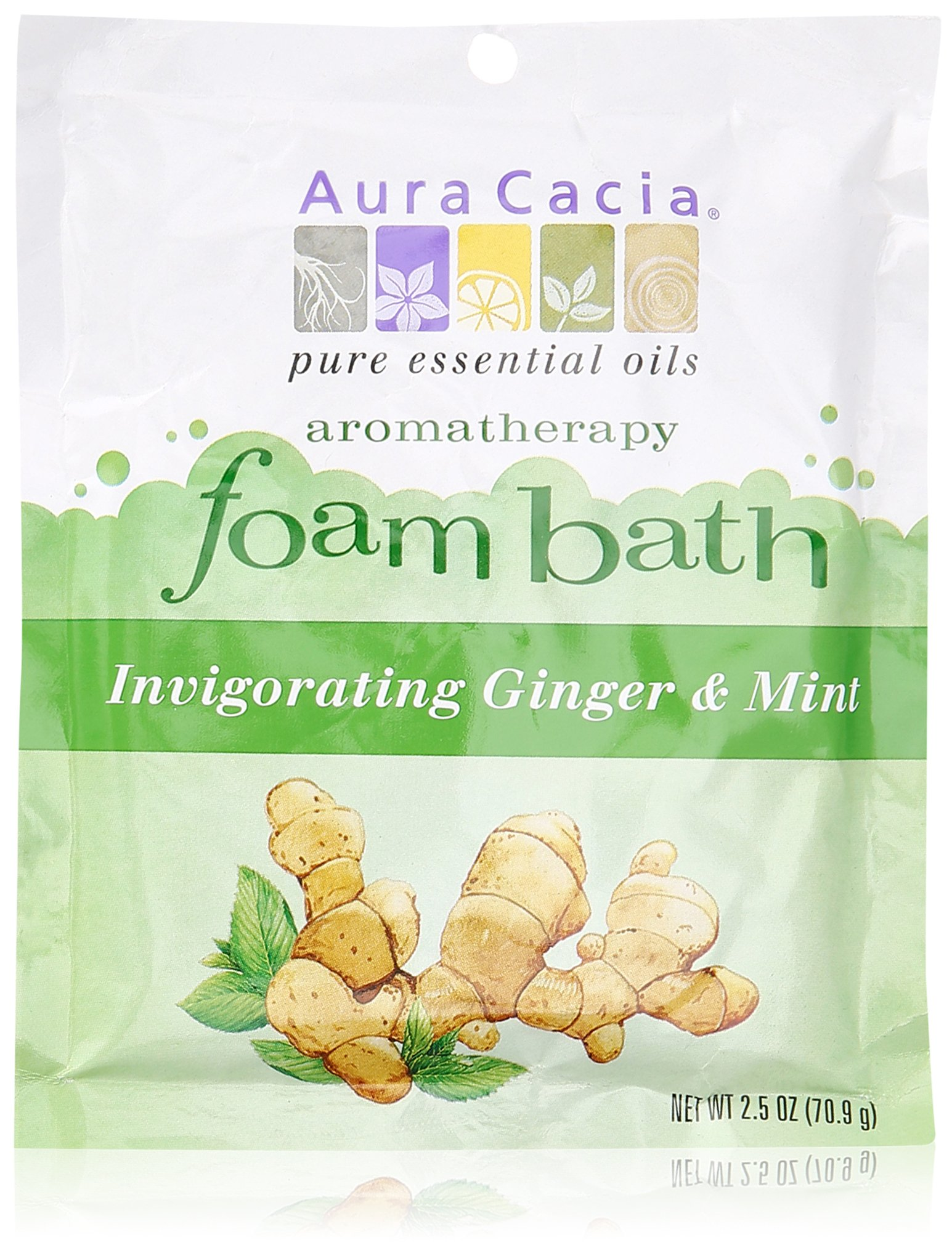 Aura Cacia Aromatherapy Foam Bath, Invigorating Ginger and Mint, 2.5 ounce packet (Pack of 3)
