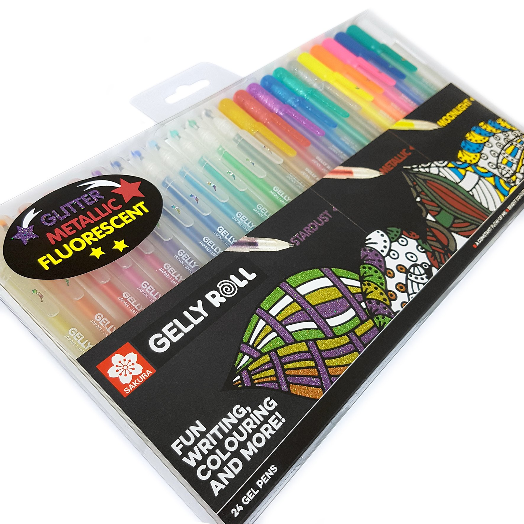 Sakura Gelly Roll - Sparkling, Metallic and Fluorescent Gel Pen Mixed Set - Box of the 24 Most Beautiful Colours - XPGBMIX24 by Sakura (Image #5)