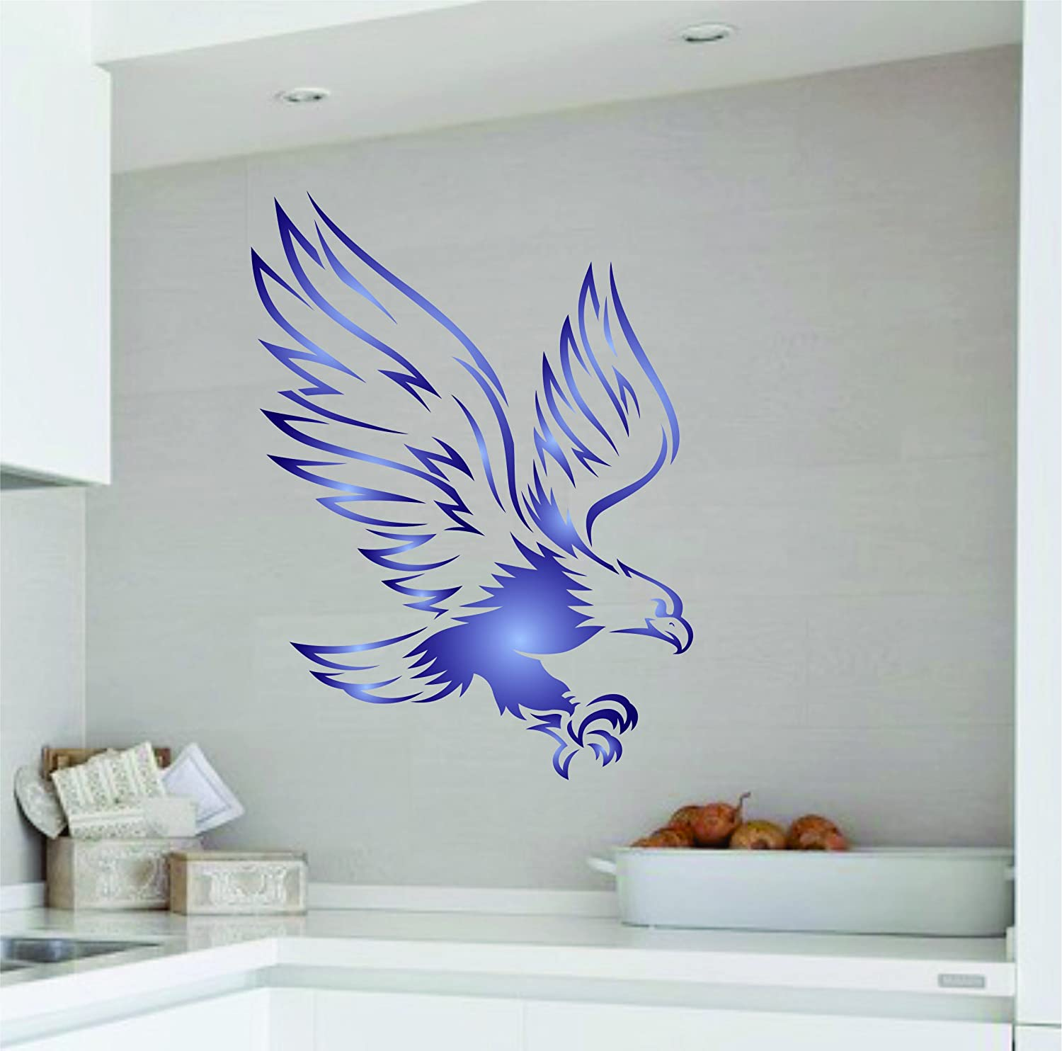 11.5 x 15cm Eagle Stencil Use on Paper Projects Scrapbook Bullet Journal Walls Floors Fabric Furniture Glass Wood etc. - Reusable Bird Animal Wildlife Wall Stencil Template S