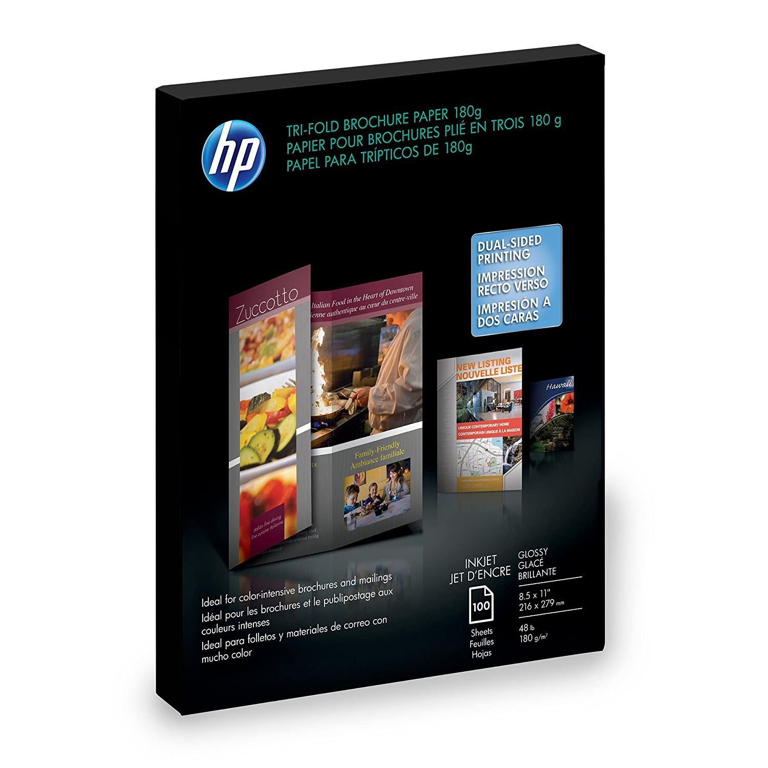HP Tri-fold Brochure Paper, Glossy (100 Sheets, 8.5 x 11 Inches) Hp - Hp Paper C7020A Office Supplies