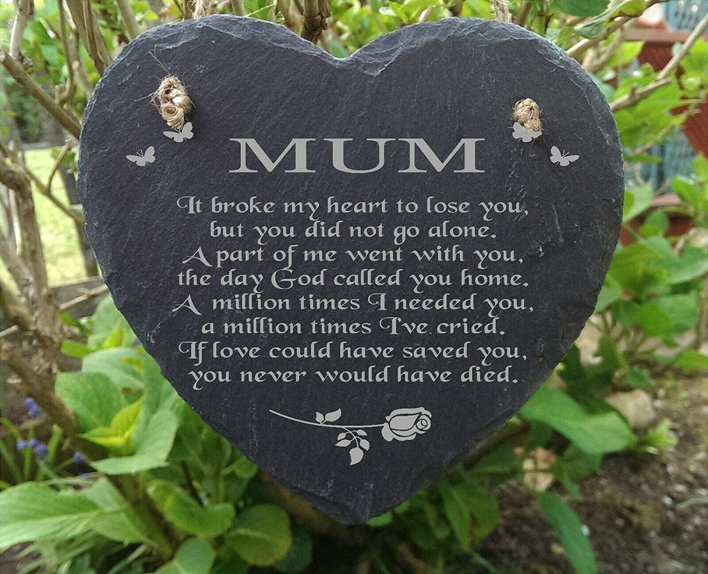 personaliseit Slate Stone Heart Engraved Memorial Plaque For Mum Rememberance