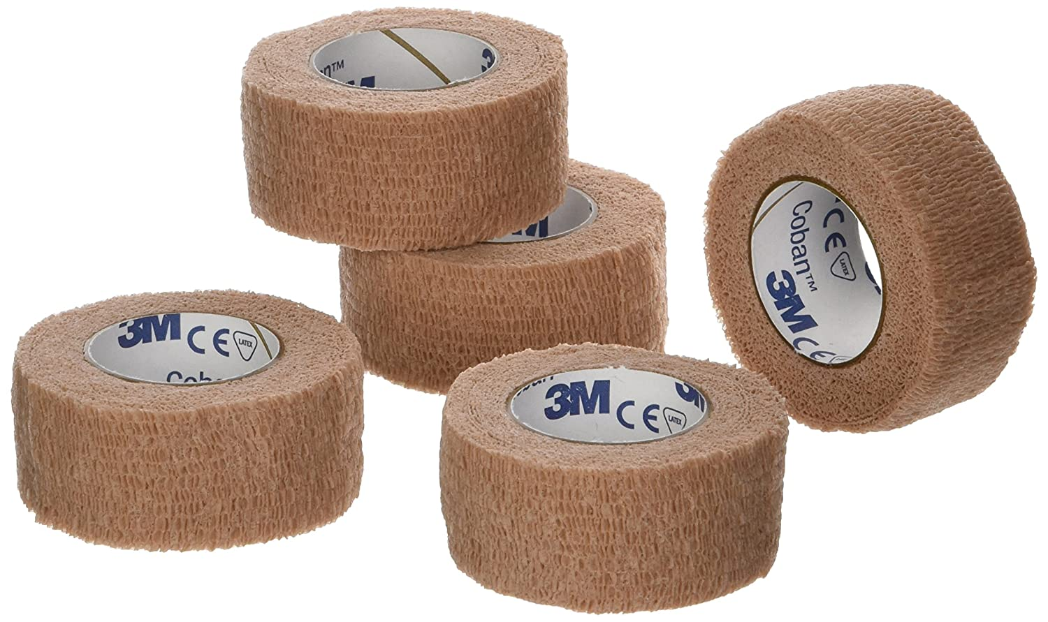 "3M Coban Self- Adherent Wrap, 1""x 5yds, Pack of 5 Rolls"