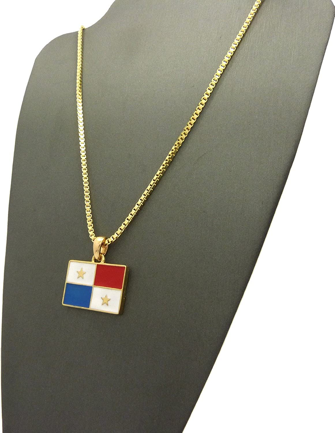 NYFASHION101 Flag of Panama Micro Pendant with Chain Necklace