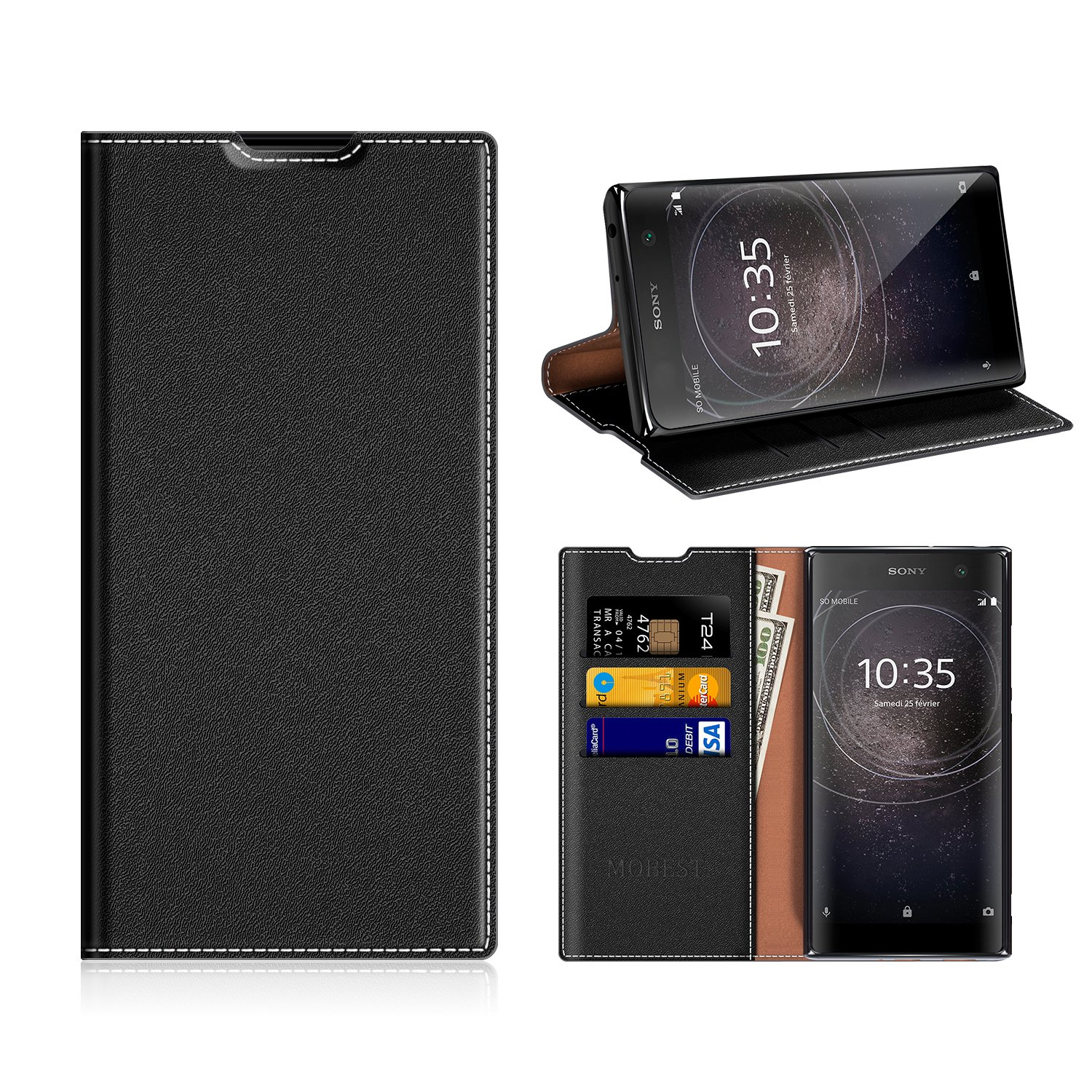 best website a7be2 6a790 Sony Xperia XA2 Wallet Case, Mobesv Sony Xperia XA2 Leather Case/Phone Flip  Book Cover/Viewing Stand/Card Holder for Sony Xperia XA2, Black