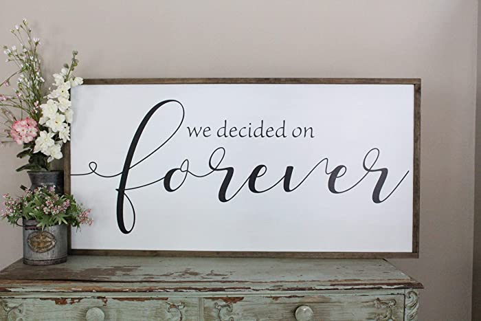 Amazon Com We Decided On Forever Artwork Hand Painted Farmhouse
