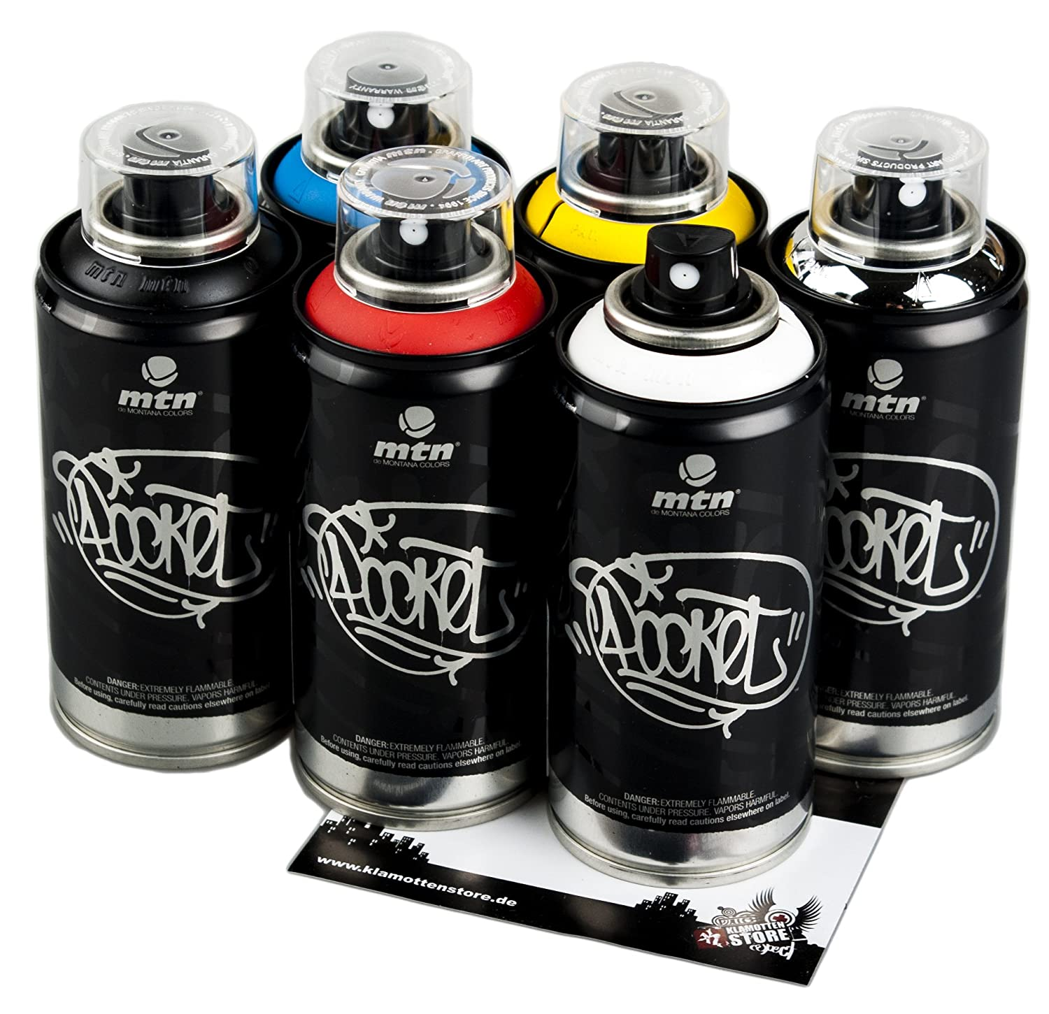 Bombolette di colore MTN per Graffiti, piccole, colori assortiti, 6 x 150 ml Montana Colors
