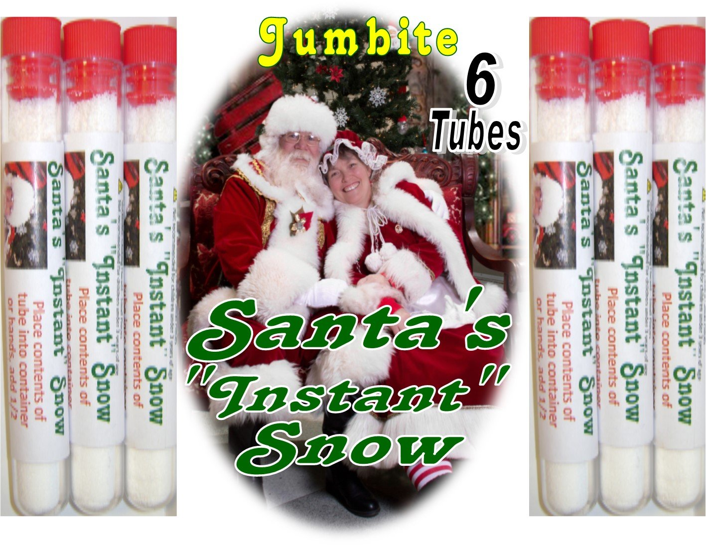 Santa's Instant Magic Snow. 6 Tubes - each tube making over One cup of Jumbite Santa's Instant Magic Snow