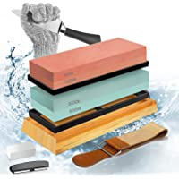 YGOCH Whetstone Sharpening Stone Kit, Professional Sharpeners Stone Includes Premium Double Sides Grit 400/1000 3000…
