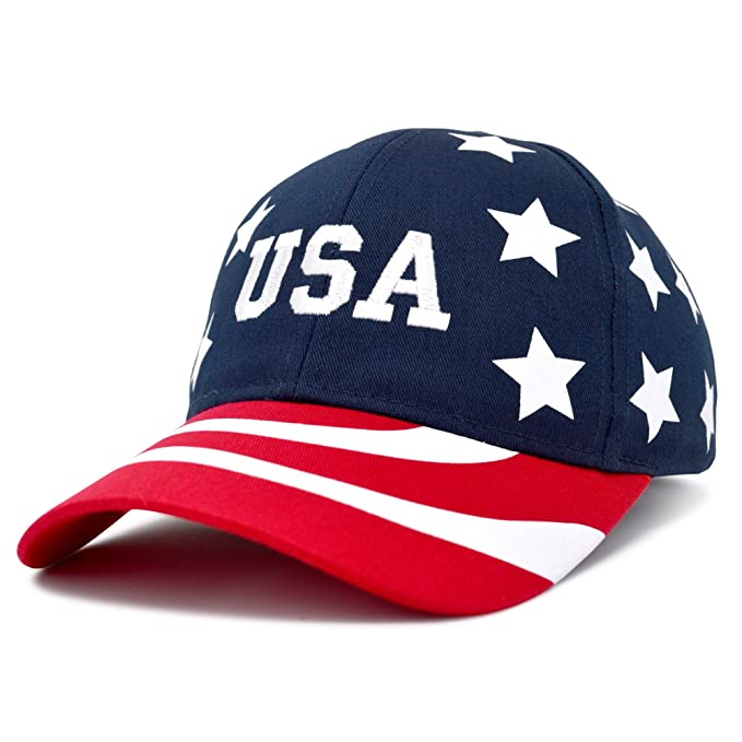 1c7ea6f598a31 Image Unavailable. Image not available for. Color  DALIX USA Baseball Cap  Flag Hat Team USA Navy ...