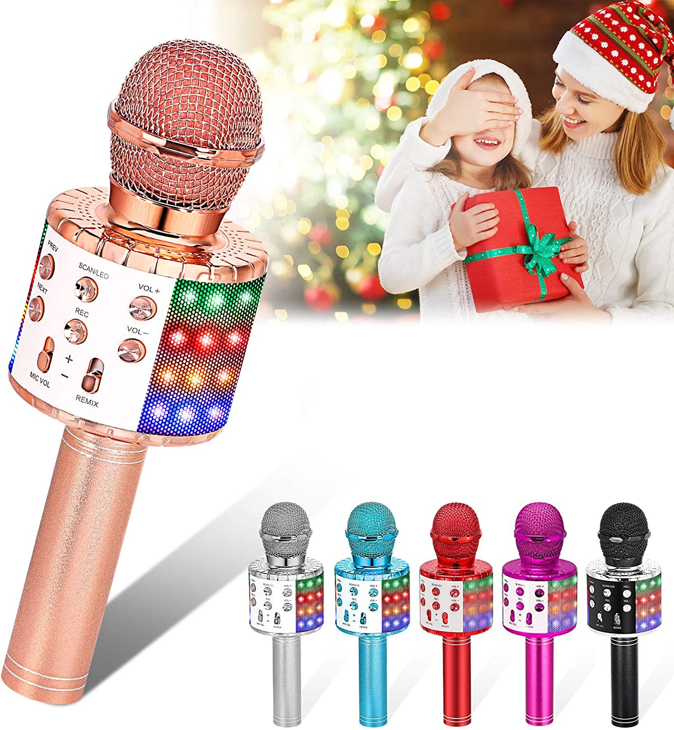 Home KTV Rose Gold Best Toy for 3-12 Years Old Kids Boys//Girls//Adults Birthday Party Wireless Karaoke Microphone Machine Toy- Amazmic Handheld Bluetooth Microphone for Karaoke with Lights